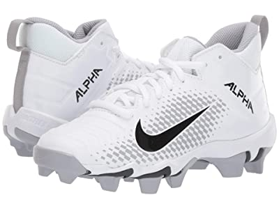 Nike Kids Alpha Menace 2 Shark Football (Toddler/Little Kid/Big Kid) (White/Black/Wolf Grey/Anthracite) Kids Shoes