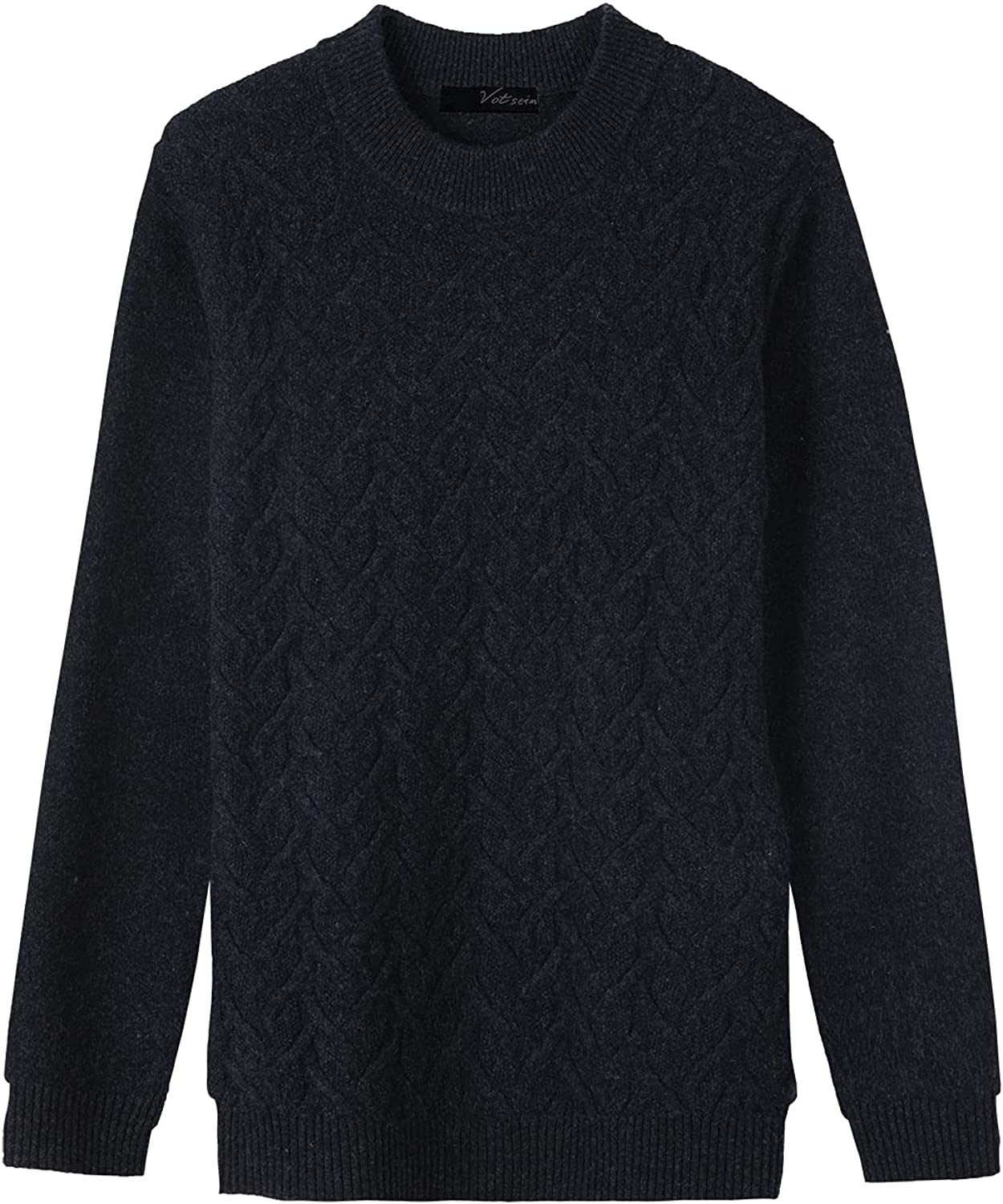 votsein Men's Casual Solid Crew Neck Wool Sweater Long Sleeve Pullover