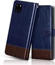 flipped vegan leather galaxy note 10 lite flip case cover shock proof with card pockets magnetic closure wallet flip cover for samsung galaxy note 10 lite hand stitched blue with brown Blue Brown