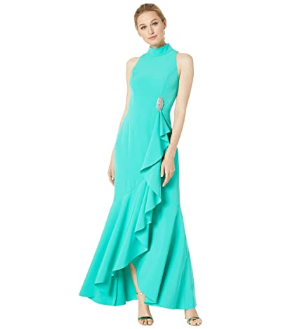 Vince Camuto Halter Neck Long Sleeve Gown with Ruffle Details (Jade) Women