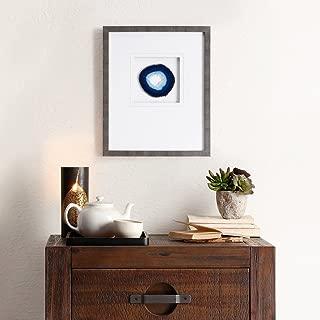 Madison Park Blue Agate Framed Blue Canvas Wall Art 14X17, Global Inspired Wall Décor