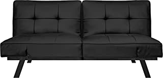 Pearington Leather Convertible Transforms to Sofa, Couch, Lounger, Bed-Durable Metal Frame and Legs, Black Futon,