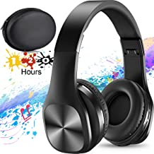 Bluetooth Headphones,Foldable Wireless Headphones Over Ear with Hi-Fi Sound Mic Deep Bass, 120 Hours Playtime and Soft Memory Protein Earpads for Travel Work TV PC iPhone Android Cellphone-Black
