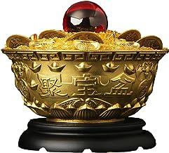 Estátua do Feng Shui em bronze Ornamento da bacia do tesouro + Lingote/Yuan Bao + Cinco Moedas do Imperador + Contas Verme...