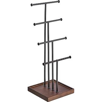 AmazonBasics Four-Tier Jewelry Tree Stand - Walnut/Black