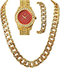 Full Iced Out 14k Gold Plated Iced Out Mens New Trendy Red Face Bling Watch, Cuban Necklace & Bracelet Set