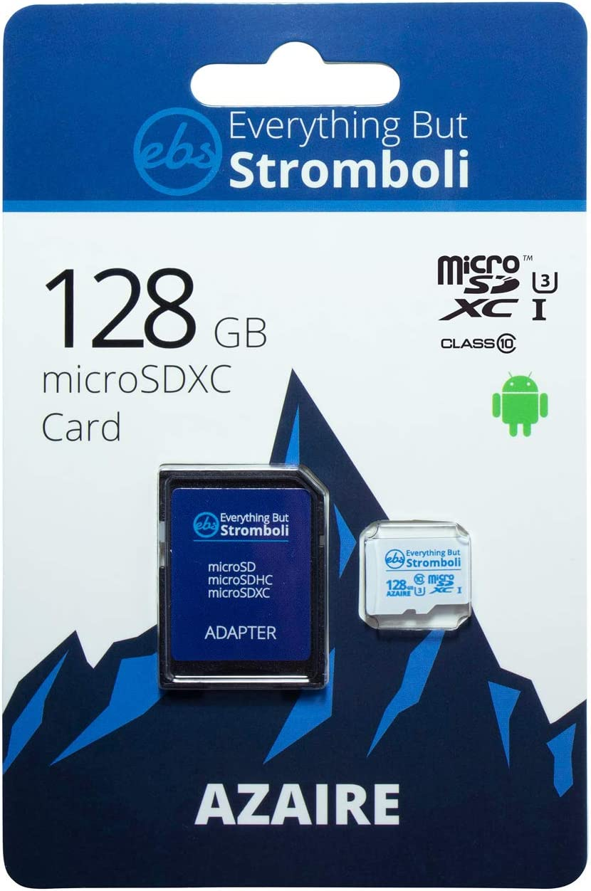 Everything But Stromboli 128GB Azaire MicroSD Memory Card Plus Adapter Works with Samsung Galaxy Phones S Series S10, S10+, S10e, S9, S9, S8, S7 Speed Class 10, U3, UHS-1, TF 128G Micro SDXC Card