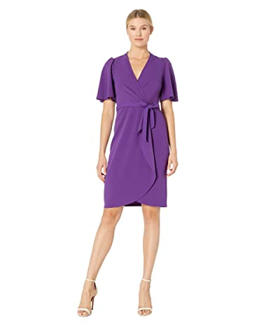 Donna Morgan Crepe Faux Wrap w/ Flutter Sleeve (Bright Purple) Women
