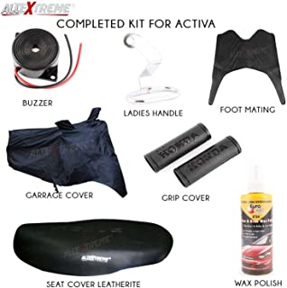 AllExtreme EX7IN1K 7 in 1 Combo Accessories Kit for Honda Activa 4G (Seat Cover, Handle Grip Cover, Helmet Holder, Buzzer,...