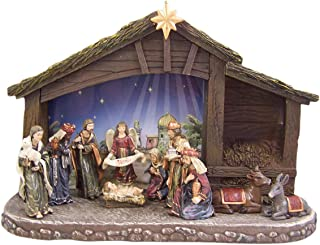 Christian Brands Eleven-Piece Nativity Set with Lighted Stable