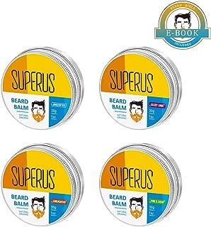 SUPERUS Bálsamos para Barba Paquete de 4 (Sin Aroma, Sándalo, Pino y Cedro, Salvia Común) Ceras/Crema Acondicionadoras para Bigote 100% Naturales y Orgánicas para Hombres (4x30ml)