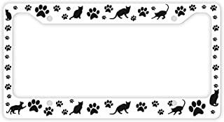ThisWear Cat Lovers Gifts Kitty Cat Pawprints Cat Lover Gifts Cat Gifts Women Rescue Cat Novelty License Plate Frame Paws