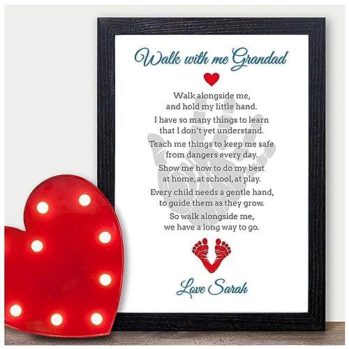 Walk With Me Grandad Personalised Poem Keepsake Christmas Birthday Xmas Gifts