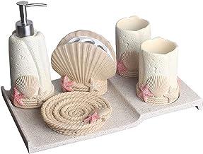 Bathroom Accessories Set, 6 Piece Resin Bath Set Collection Features Soap Dispenser Pump, Toothbrush Holder, Tumbler, Soap...
