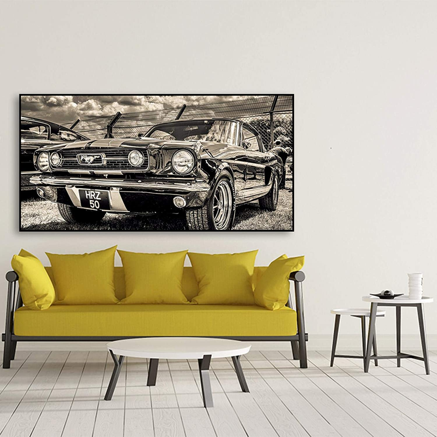"""30x105cm HD Print Artwork Classic Sports Car Posters Home Decor Wall Art Pictures 1965 Ford Mustang Car Canvas Paintings 11.8/""""x41.3 Frameless"""