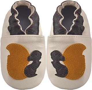 Zapatos de Bebe Cuero Suave para bebés Zapatillas para niños y niñas Niños Primeros Pasos Antideslizante Niño 0-6 Meses ha...