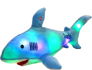 Bstaofy LED Blue Shark Stuffed Animal Glow Plush Ocean Species Toy Night Lights Birthday for Kids, 20 Inches
