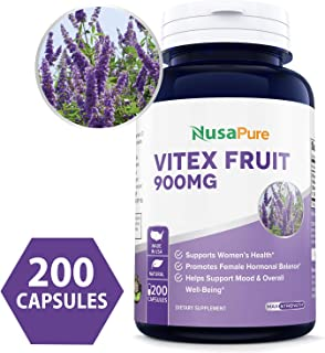 Vitex Chasteberry Fruit Extract 900mg 200 Caps (Non-GMO & Gluten Free) - Woman's Health Supplement Supporting Hormonal Balance & PMS Symptoms
