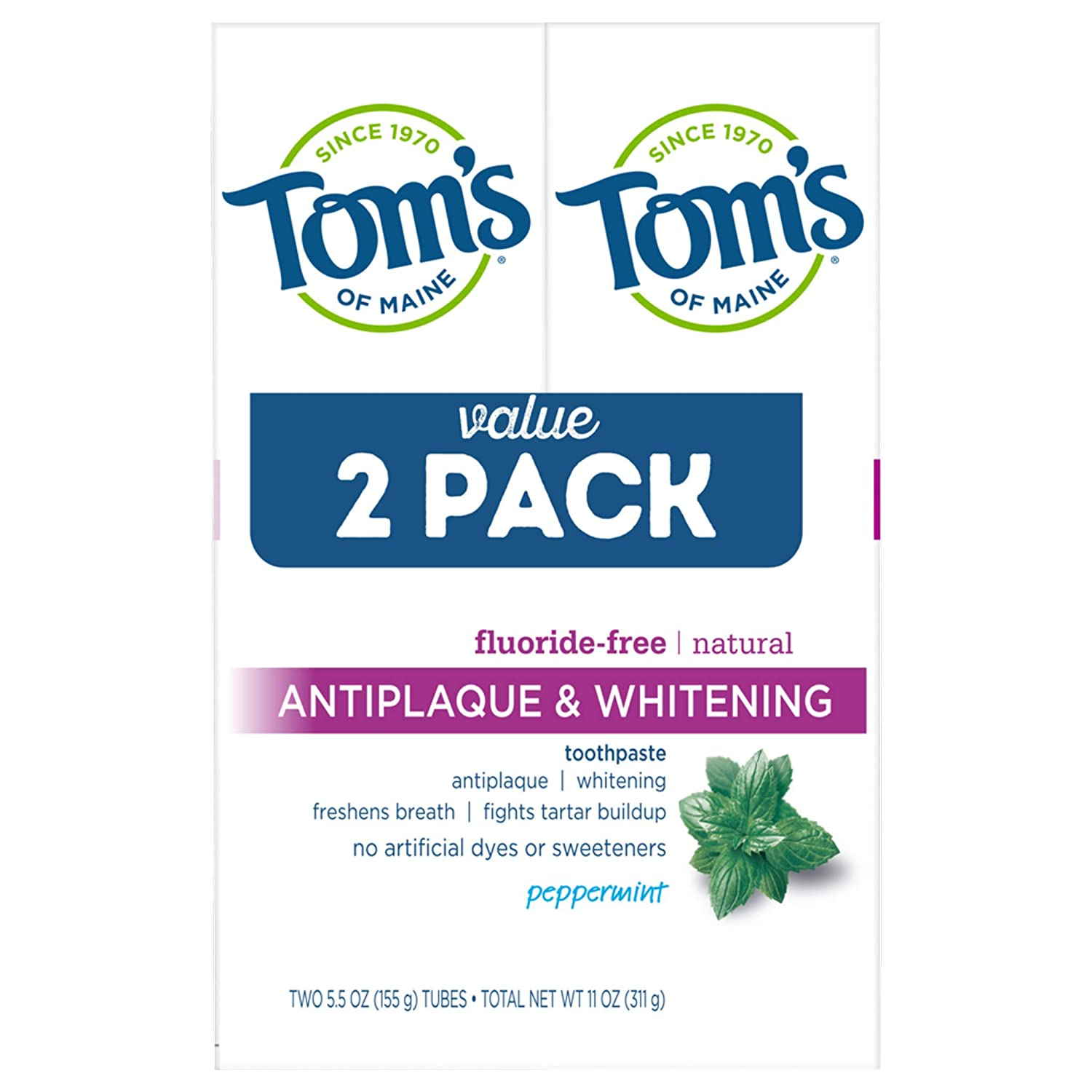 Tom's of Maine Fluoride-Free Natural Toot Max 74% OFF Antiplaque Beauty products Whitening