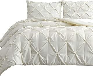 Estellar 3pc Full Size Comforter Set Pinch Pleat, Pintuck Bedding | Ivory All Season All Season Bed Cover Set