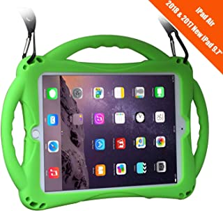New iPad 2017/2018 9.7 inch Case/iPad Air Case, TopEsct Shockproof Silicone Handle Stand Case Cover&(Tempered Glass Screen Protector) for Apple New iPad 9.7inch(2017/2018 Version) and iPad Air(Green)
