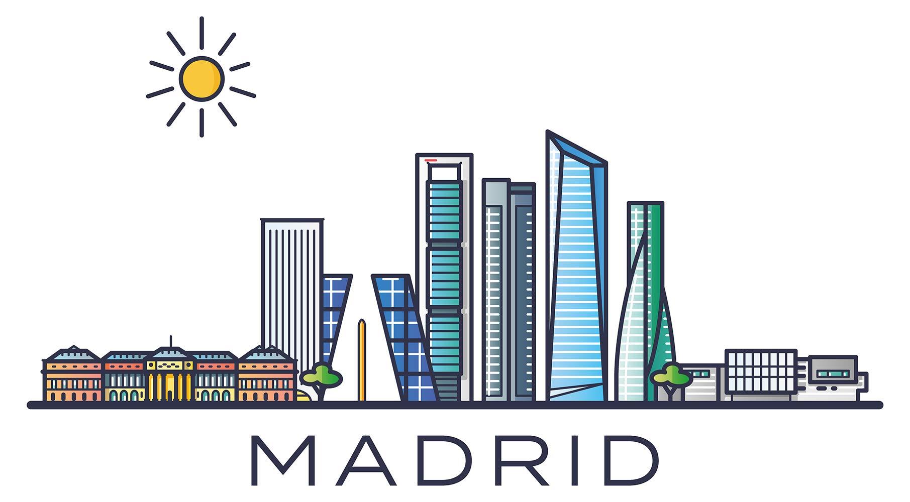 Pegatina de pared skyline Madrid España ciudades motivo lugares turísticos pared pegatina paisaje urbano pegatina horizonte XXL: Amazon.es: Bricolaje y herramientas