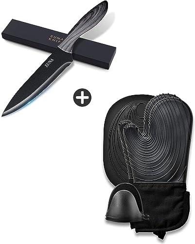 wholesale EUNA outlet sale 8 popular inch Chef Knife & Black Oven mitts Set online