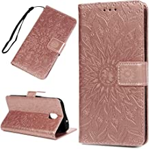 Galaxy J7 V 2nd Gen Case Floral Sunflower Wallet Case PU Leather Magnetic Flip Cover Shock Resistant Flexible Soft TPU Protective Bumper Card Slots Kickstand Lanyard for Samsung Galaxy J7 Rose Gold