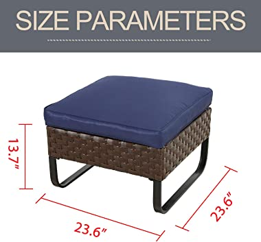 LOKATSE HOME Patio Ottoman Outdoor Footstool Small Seat Wicker Furniture with U Shaped Legs and Soft Thick Blue Cushion for G