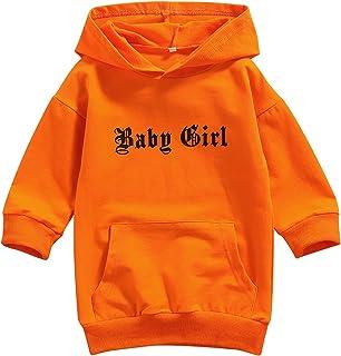 Toddler Baby Girls Hooded Dress Long Sleeve Hoodie Sweatshirt Dress Fluorescent Pullover Tops for Fall Winter