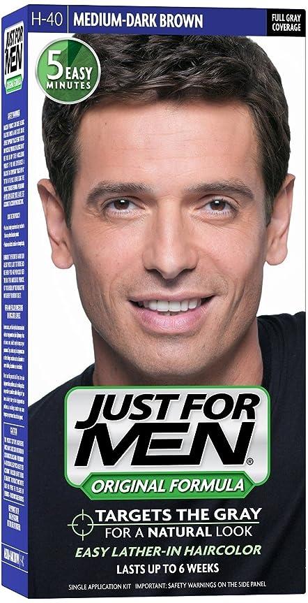 特許急降下州Just for Men ヘアカラーH-40ミディアムダークブラウン1 Eaは(4パック)