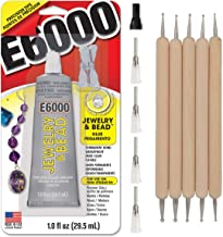 E6000 1-Ounce Jewelry and Bead Adhesive with 4 Precision Applicator Tips for Jewelry Pixiss Art Dotting Stylus Pens 5 pcs ...