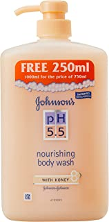 Johnson's PH 5.5 Nourishing Body Wash with Honey, 750ml+ 250ml (Free)