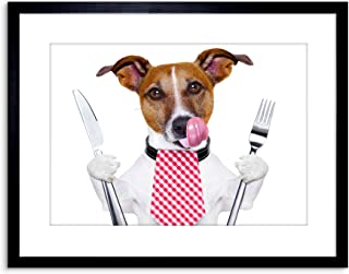 Wee Blue Coo Photo Hungry Jack Russell Dog Funny Art Print Framed Poster Wall Decor 9x7 inch