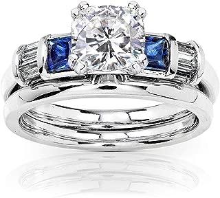 Cushion Moissanite Bridal Set 14k White Gold