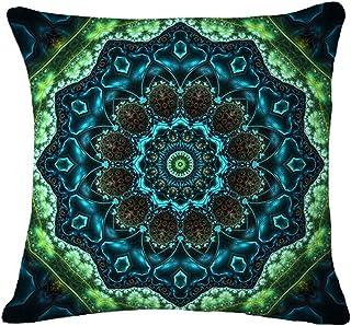European Retro Floral Colorful Mandala Moroccan Ethnic Style Turquoise Black Cotton Linen Home Throw Pillow Case Personali...