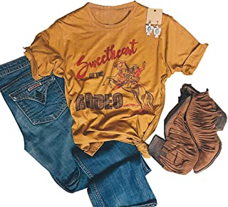 Retro Rodeo Graphic Tees Vintage Cowgirl Shirt for Women Short Sleeve Western Tee Shirts