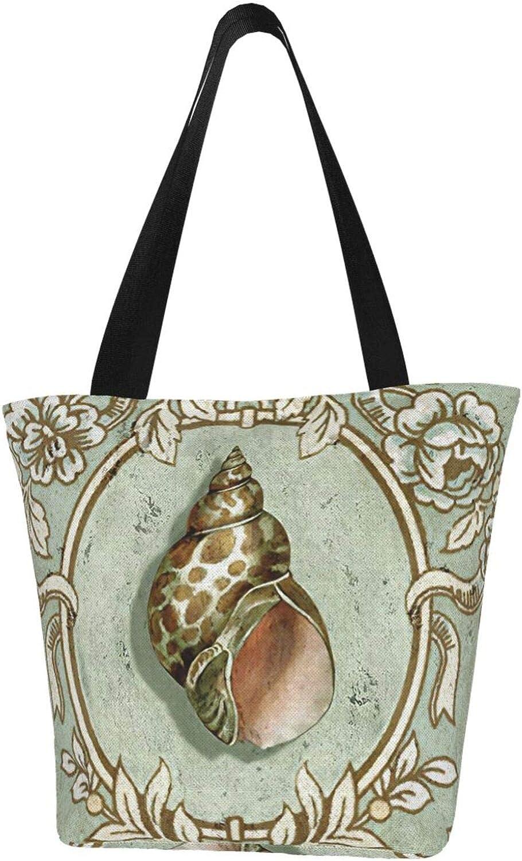 Sea Conch Green Ocean Vintage Themed Printed Women Canvas Handbag Zipper Shoulder Bag Work Booksbag Tote Purse Leisure Hobo Bag For Shopping
