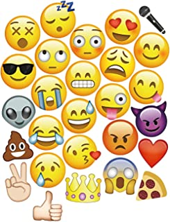 Moreteam 27PC Emoji Photo Booth Props Party Decorations Emoji Masks for Dress-Up Party, Games, Wedding, Birthday, Festival, Games