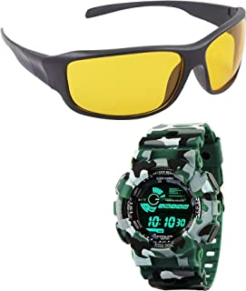 Emartos Digital Watch for Boys and Night Driving Sunglasses for Boys and Men's