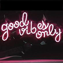 LiQi ' GOOD VIBES ONLY' Real Glass Handmade Neon Wall Signs for Home Decor Wall Light Room Decor Home Bedroom Girls Pub Ho...