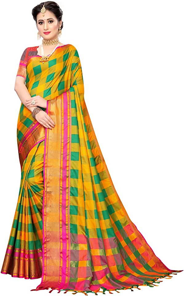 Indian SIRIL Women's Woven Cotton Blend Saree With un-stitched Blouse Piece Saree