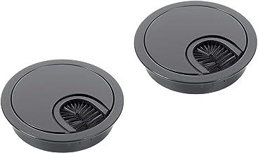 Kabeldoorvoer voor bureau, kabeldoorvoer, diameter 60 mm, metaal, kabeldoorvoer, 2 stuks, rond, kabeldoorvoer met borstel,...