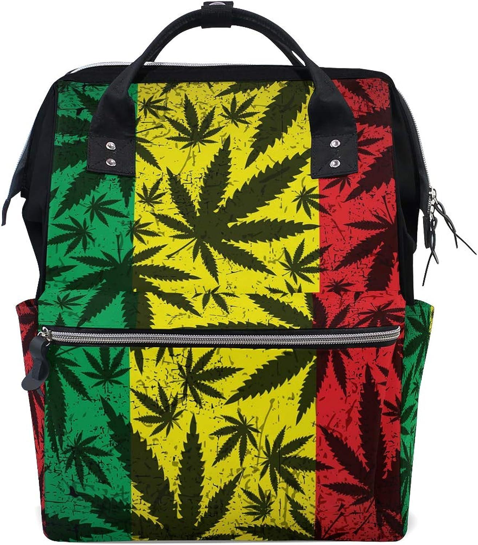 6bd7a15a20b0 MONTOJ Cannabis On Grunge Rastafarian Flag Pattern Canvas Travel ...