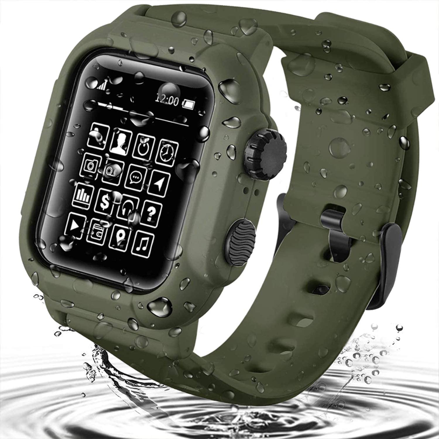 Waterproof Case for Apple Watch Series 6/5 / 4 / SE 44mm, Built-in Screen Protector Rugged Shockproof iWatch Protective Cover Case with Premium Soft Silicone Band (42mm, ArmyGreen)