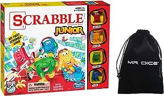 Scrabble Junior Jr Board Game for Kids Bundle with Mr Dice Drawstring Bag