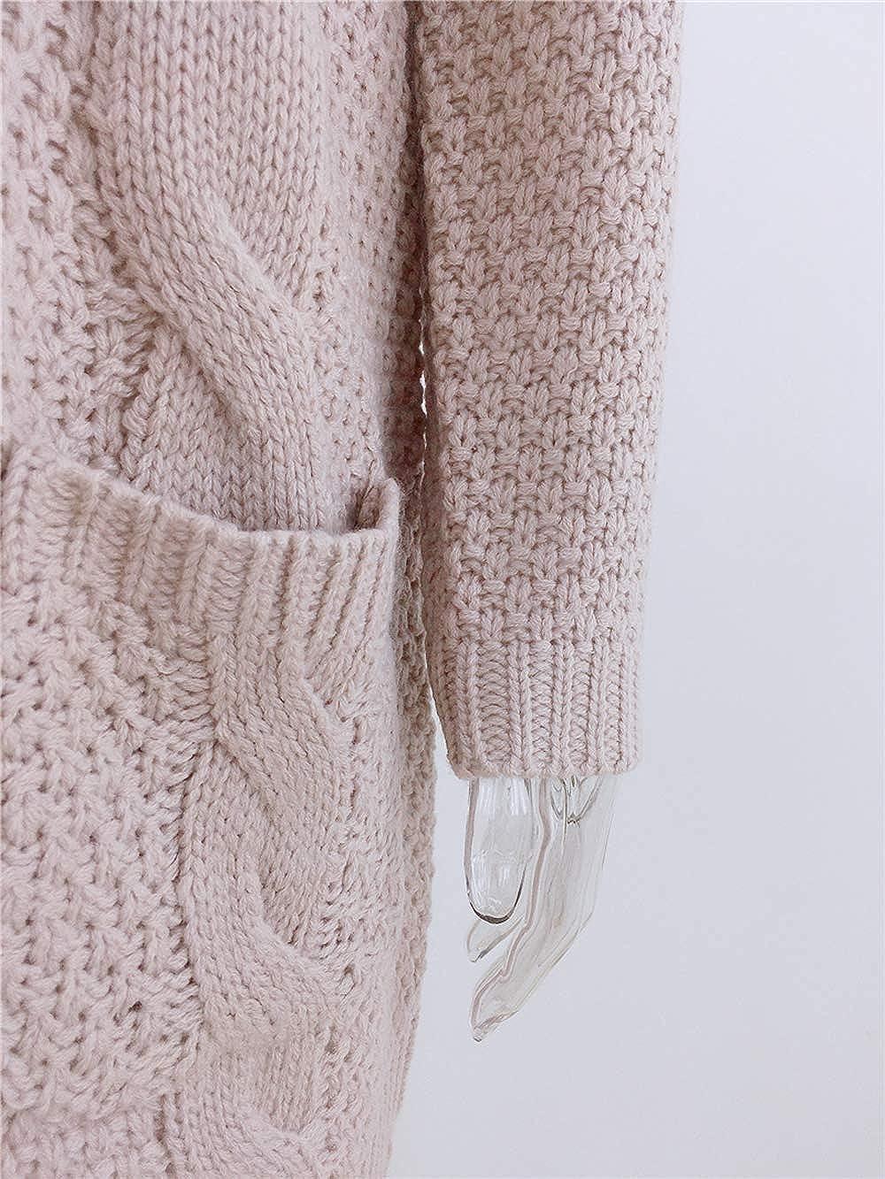 Damen Strickjacke Cardigan Lang Langarm V Ausschnitt mit Knopf Strickpullover Tops Outerwear Strickmantel lang C- Khaki