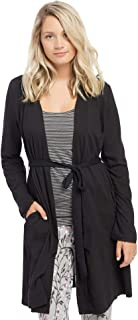 Women's Maternity Tie Front Nursing Robe with Lace Trim Sleeve