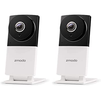 Work with Alexa Wi-Fi Home Security Surveillance Camera System with Night Vision Remote Monitor 2 Pack Zmodo EZCam 720p HD IP Camera Cloud Service Available Motion Alert