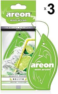 AREON Mon Auto Lufterfrischer Mojito Duft Anhänger Hängend Aufhängen Spiegel Grün Autoduft Pappe 2D Wohnung (Set Pack x 3)
